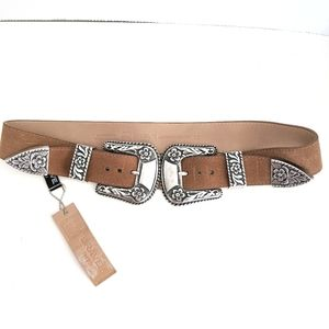 NWT Brave Leather Daphne Double Buckle Belt
